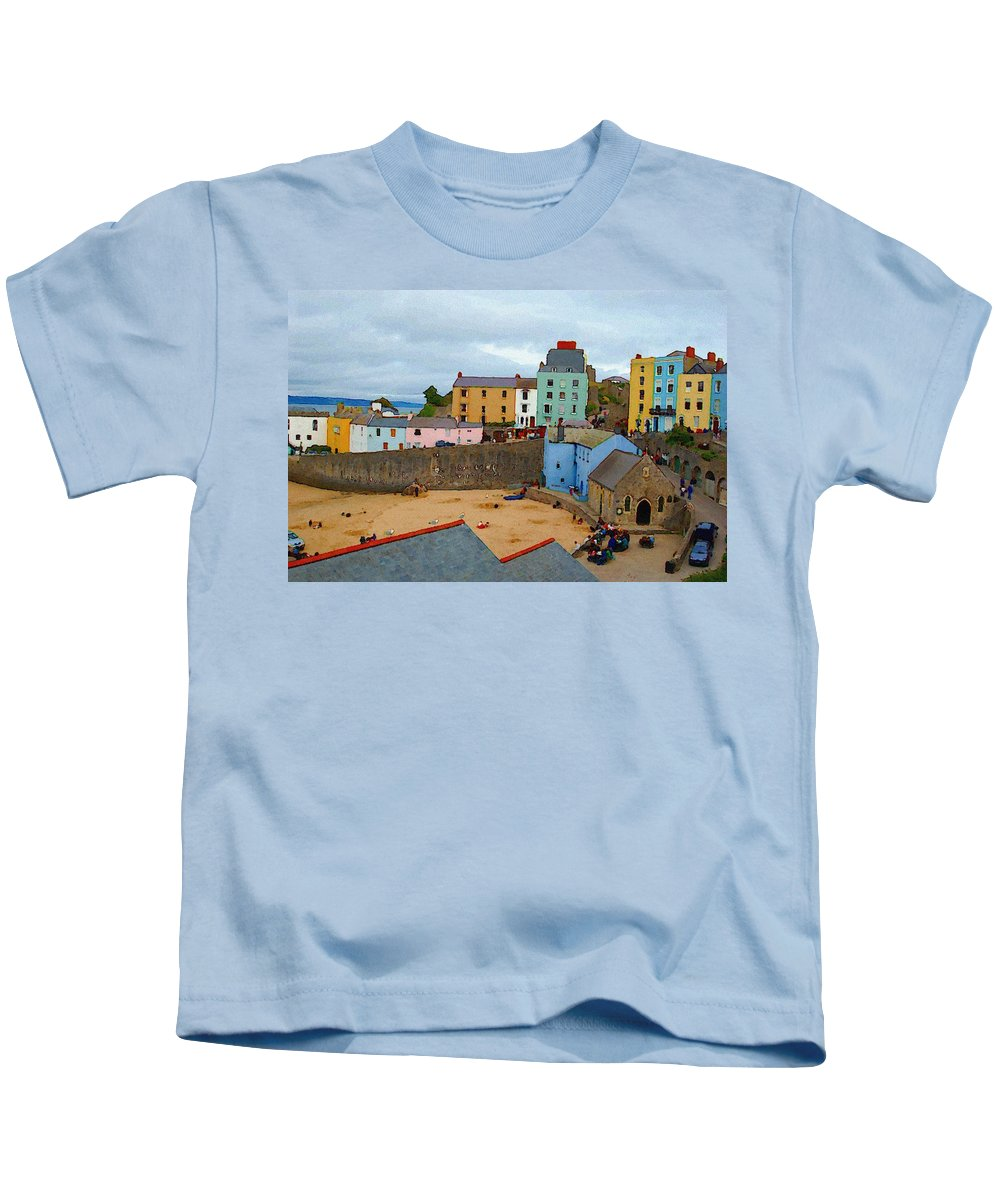 Tenby Kids T-Shirt featuring the photograph Tenby Village And Castle Wall by Tam Ryan