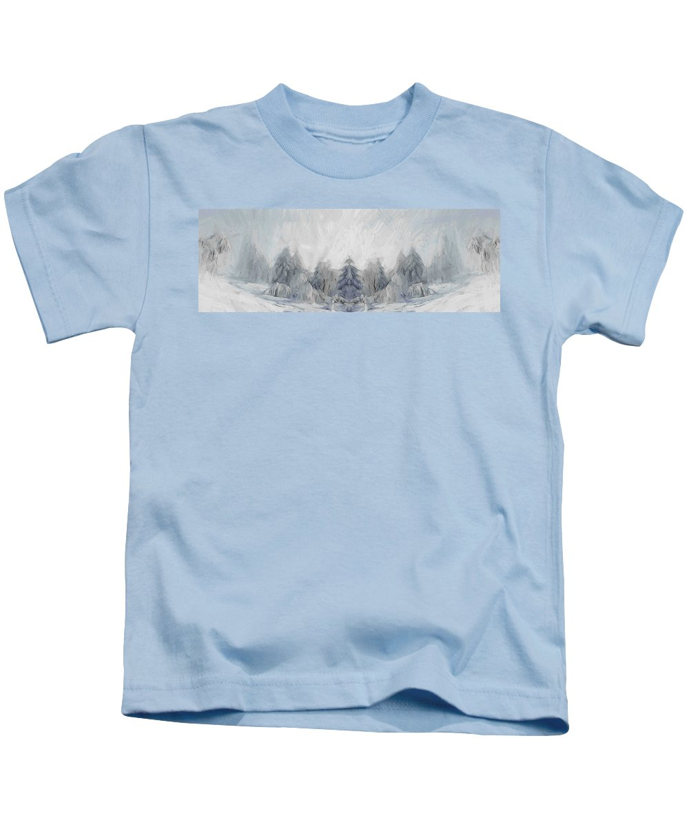 Painting Winter Snow Cold Ice Forest Wood Tree Trees Landscape Nature Kids T-Shirt featuring the painting Wintertime by Steve K