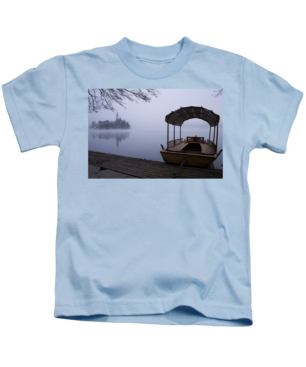 Bled Kids T-Shirt featuring the photograph Misty Lake Bled by Ian Middleton