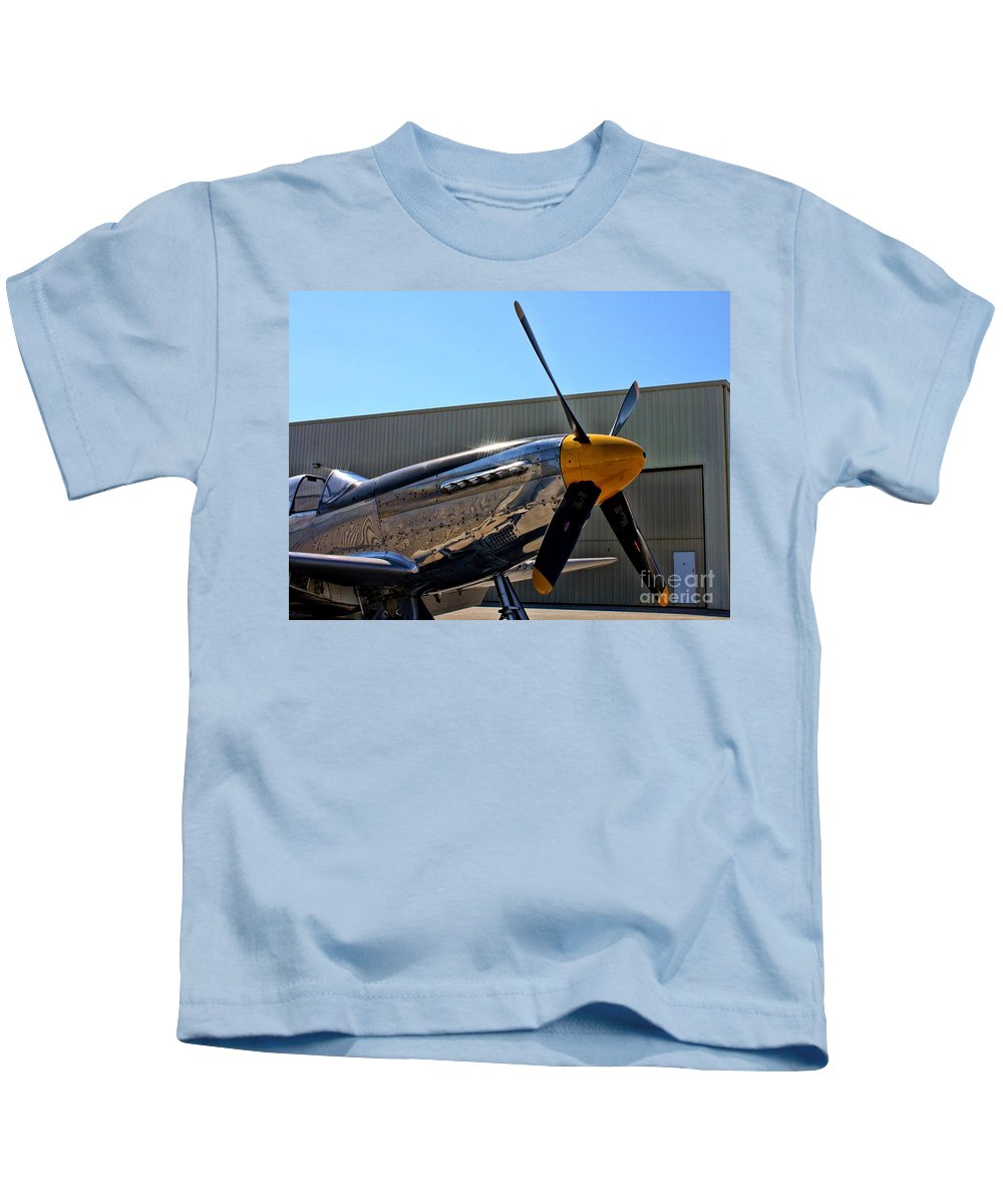North American P-51d Mustang Kids T-Shirt featuring the photograph North American P-51 Mustang by Tommy Anderson
