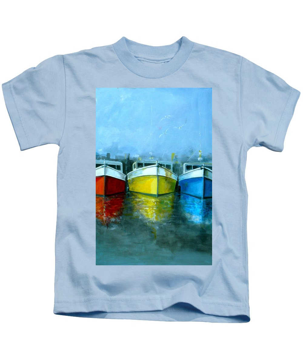 Australian Kids T-Shirt featuring the painting 3 Sisters 2 by Giro Tavitian