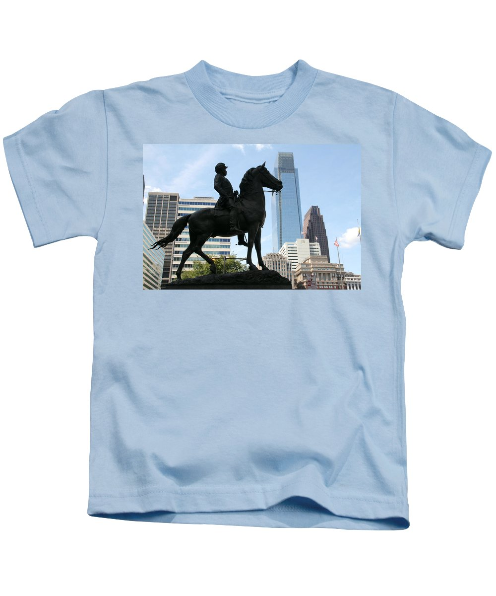 General Horse Statue City Hall Philadelphia Kids T-Shirt featuring the photograph A General And His Horse In Philly by Alice Gipson