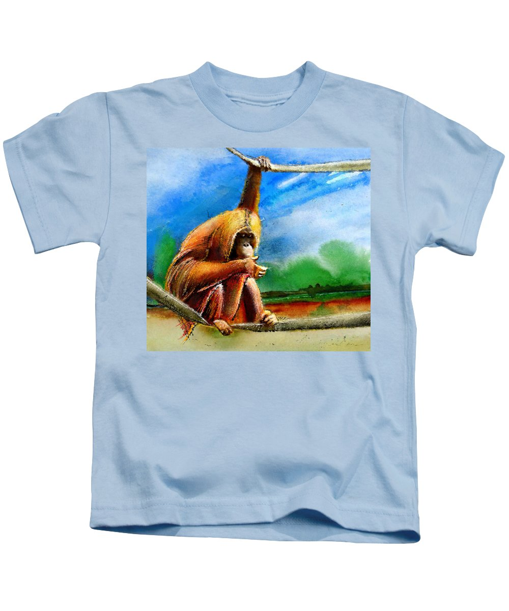 Animals Kids T-Shirt featuring the painting A Question Of Balance by Miki De Goodaboom