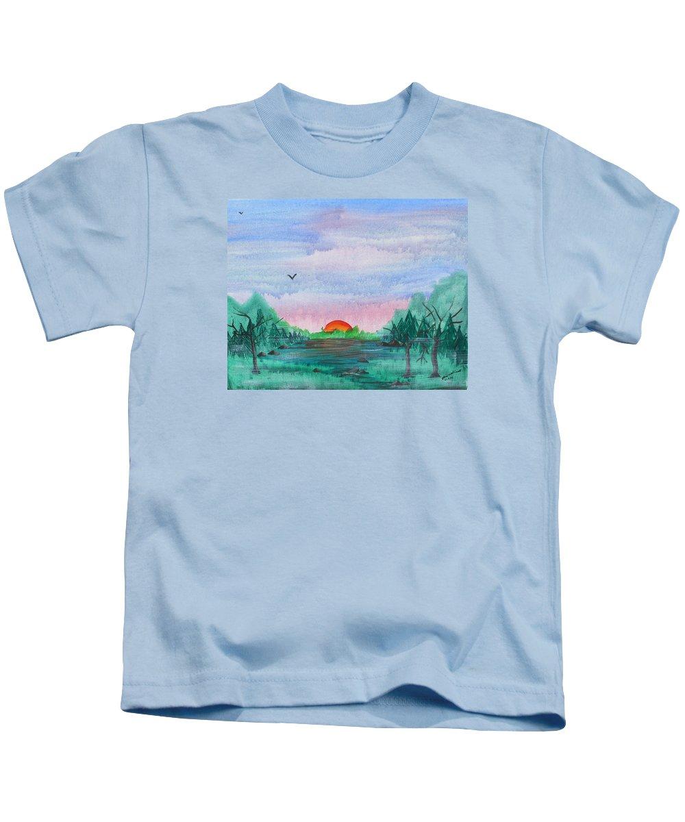 Sunrise Kids T-Shirt featuring the painting A Rainy Misty Sunrise by Arlene Wright-Correll