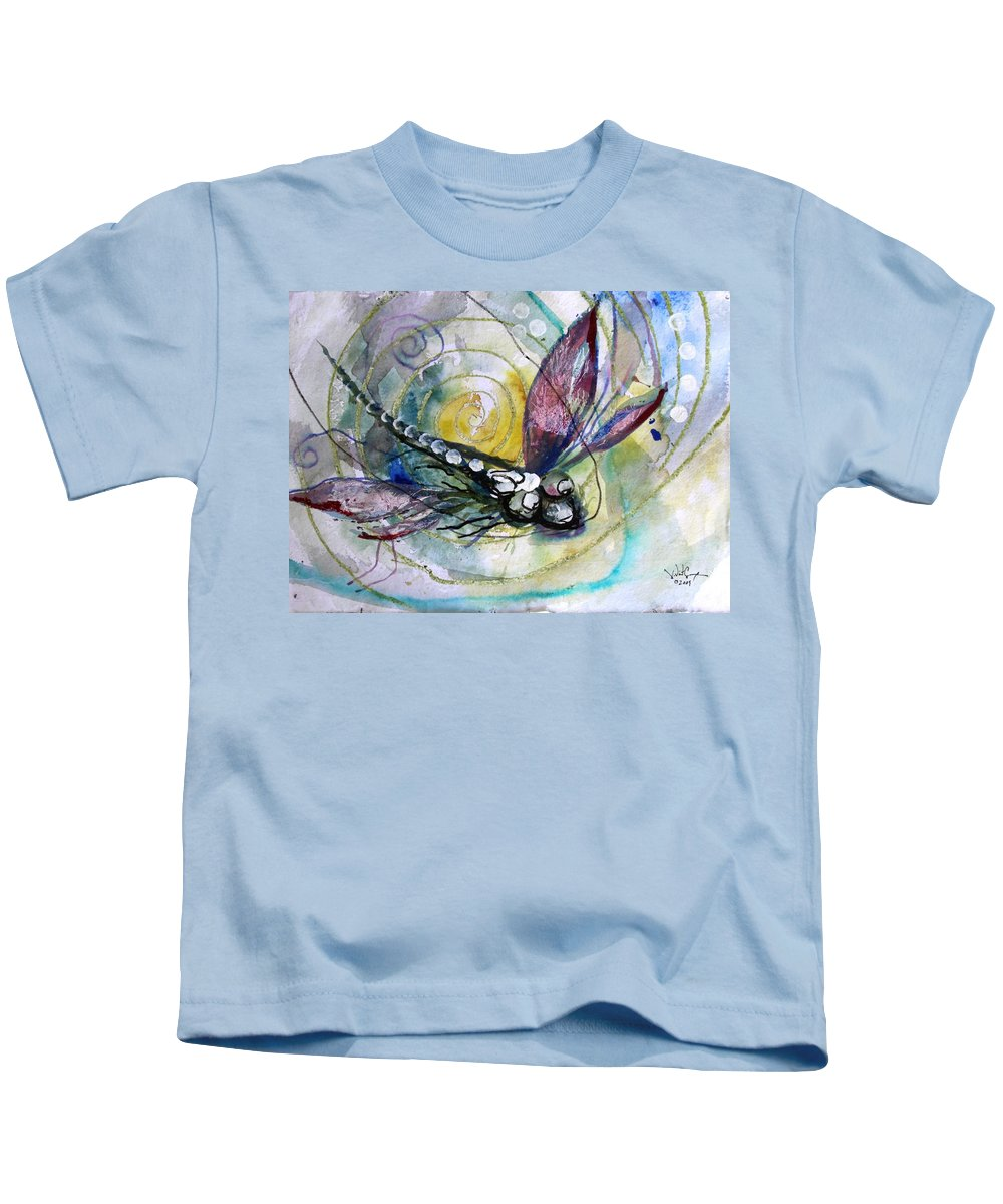 Dragonfly Kids T-Shirt featuring the painting Abstract Dragonfly 11 by J Vincent Scarpace