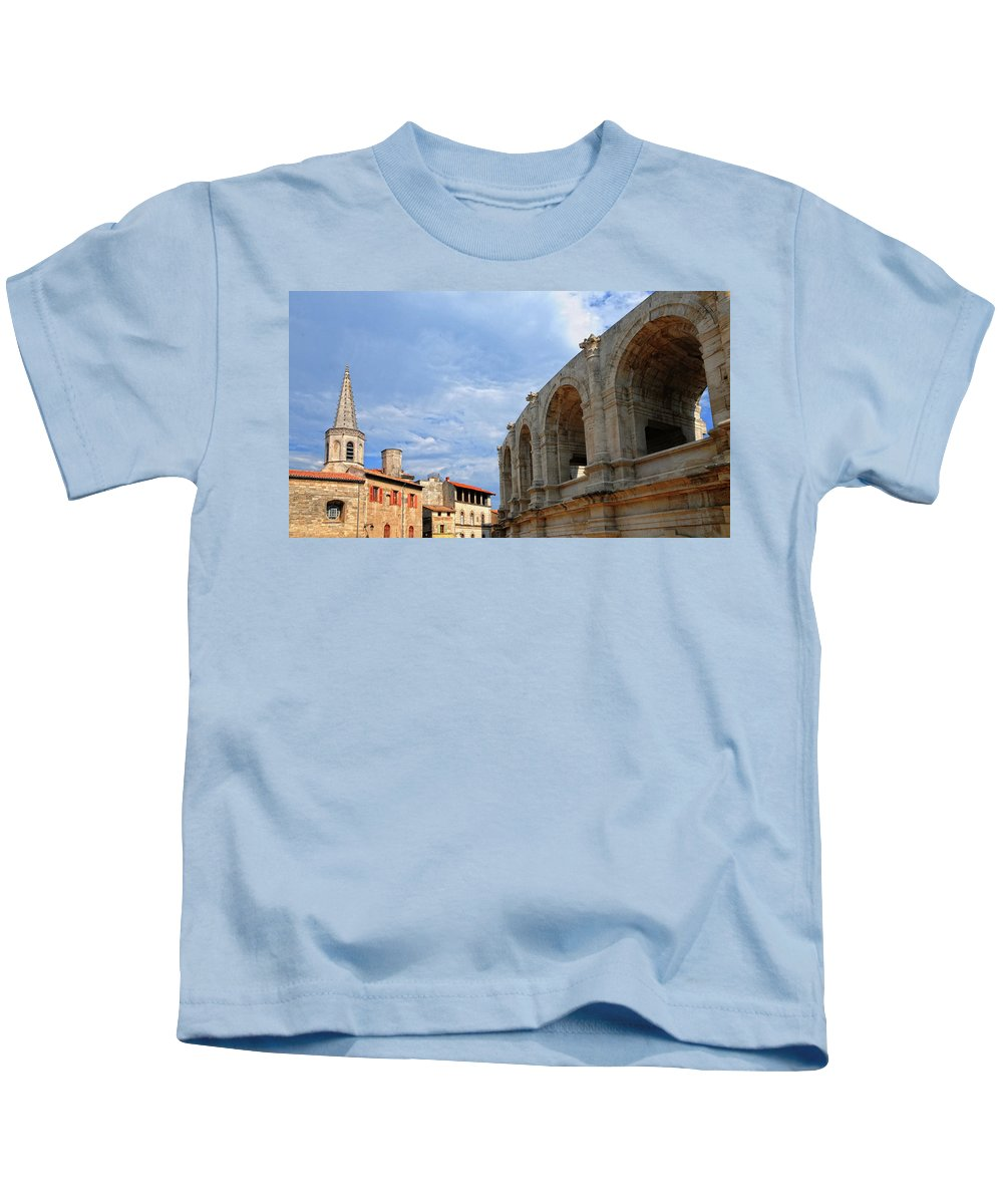 Arena Kids T-Shirt featuring the photograph Arena In Arle Provence France by Dave Mills