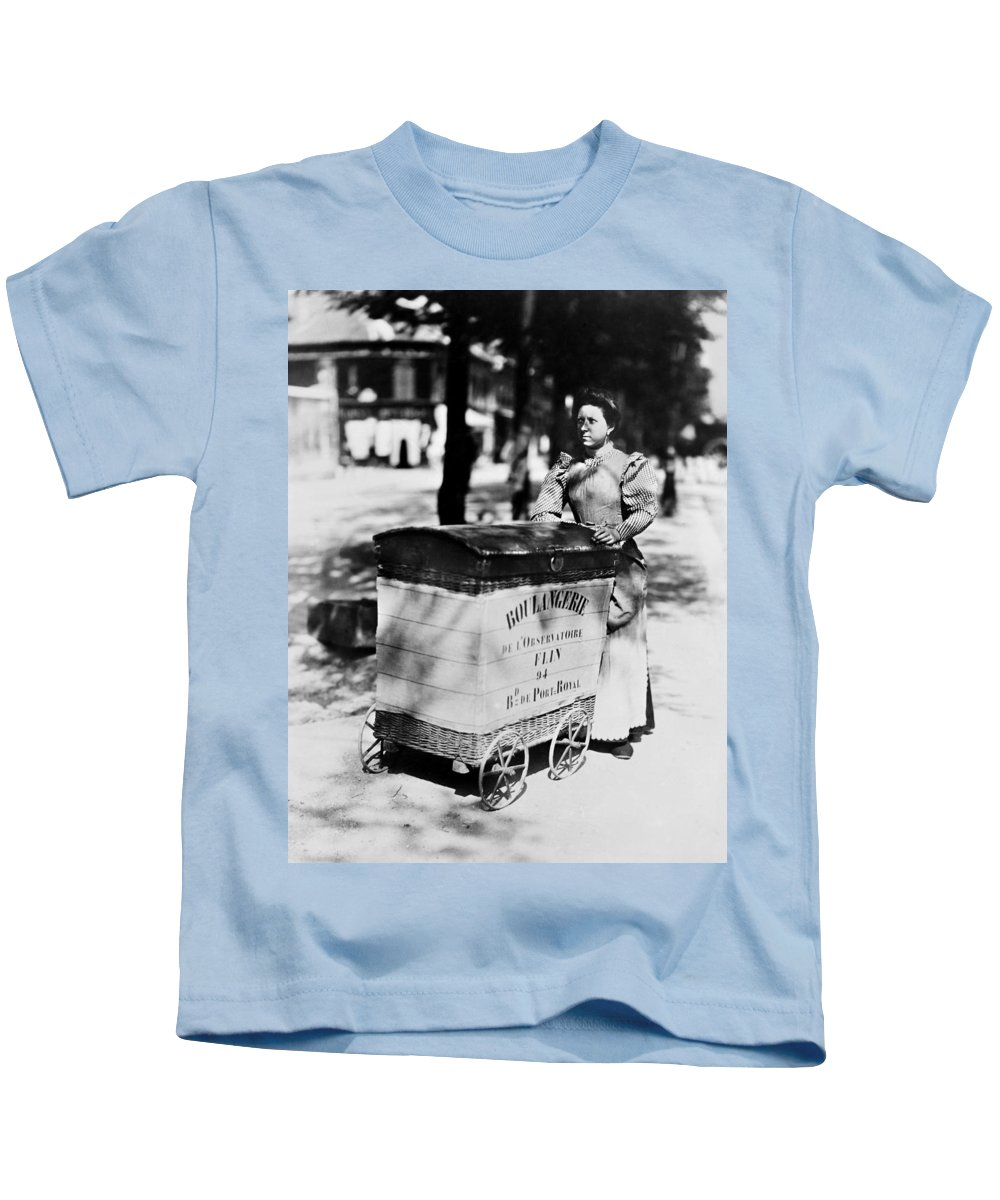 1898 Kids T-Shirt featuring the photograph Atget: Delivering Bread by Granger
