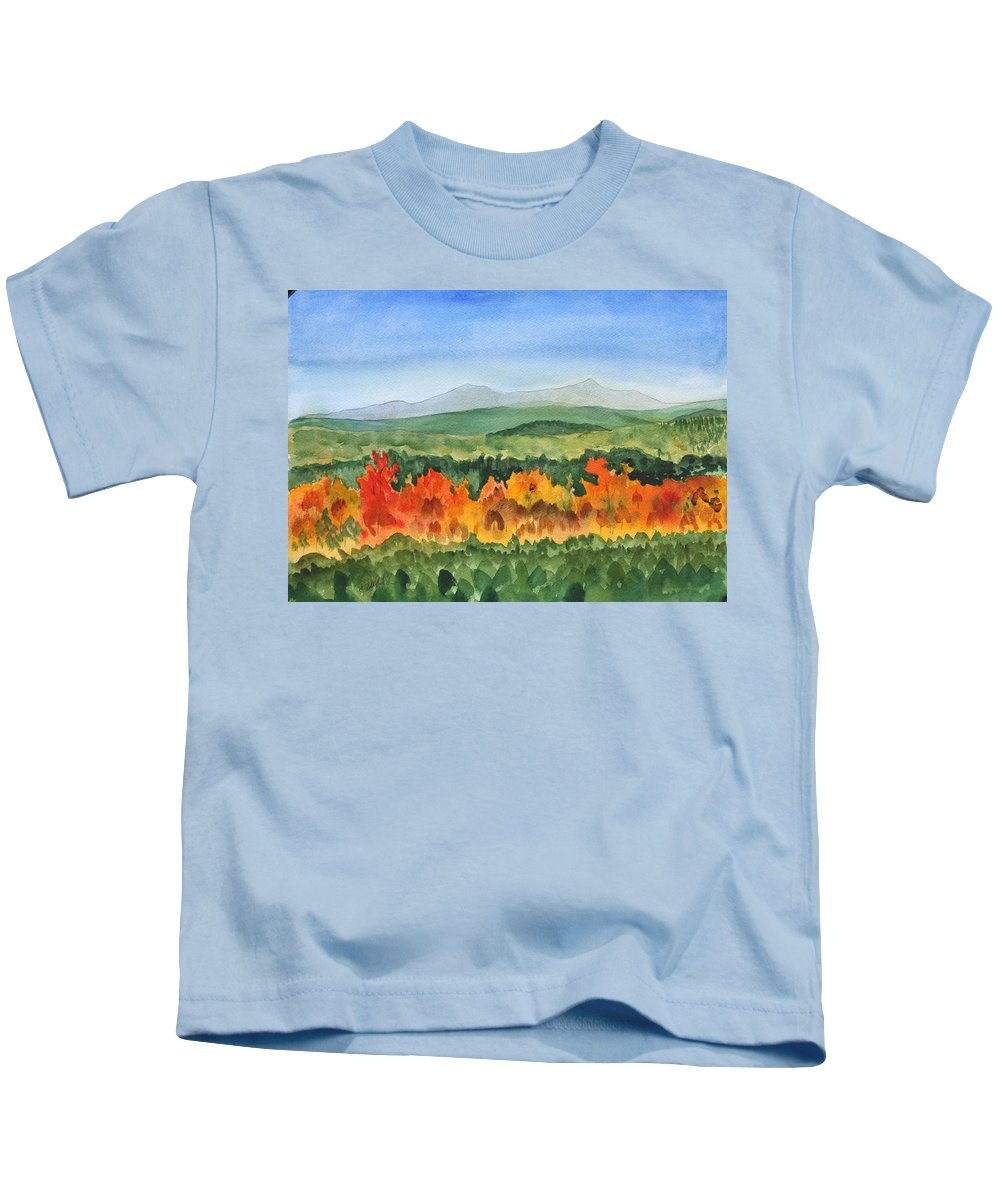 Barton Kids T-Shirt featuring the painting Barton Vermont Autumn by Donna Walsh