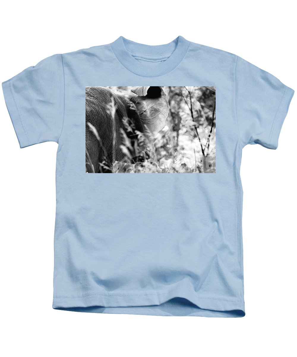 African Elephant Kids T-Shirt featuring the photograph Blending Into Camouflage by Angela Rath