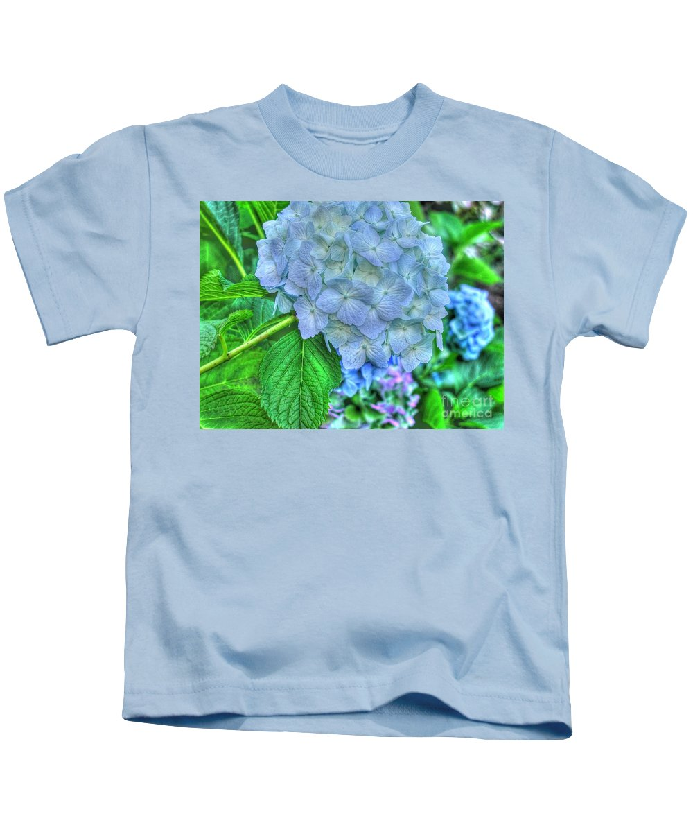 Flowers Kids T-Shirt featuring the photograph Blue And Green Flora by Tap On Photo