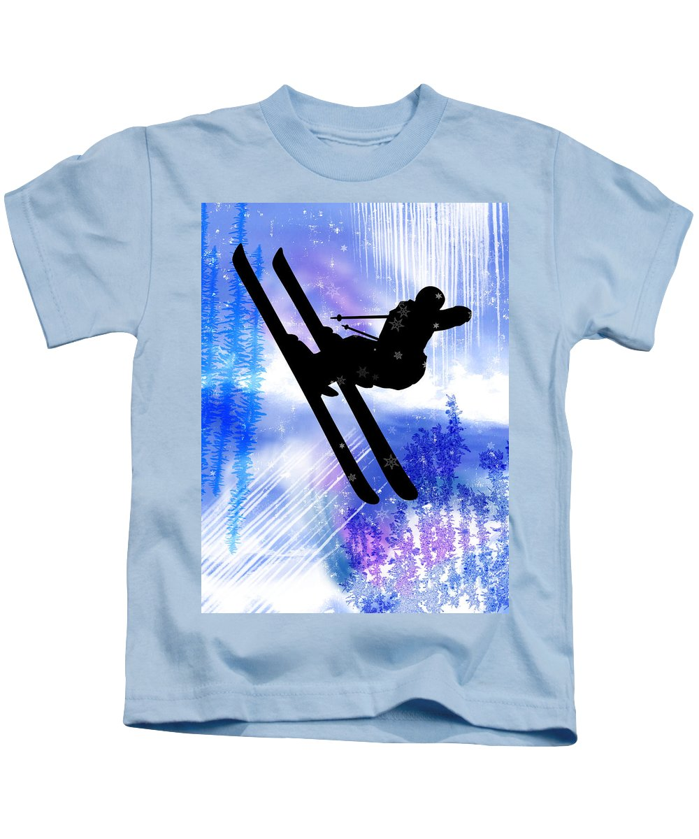 Ski Kids T-Shirt featuring the painting Blue And White Splashes With Ski Jump by Elaine Plesser