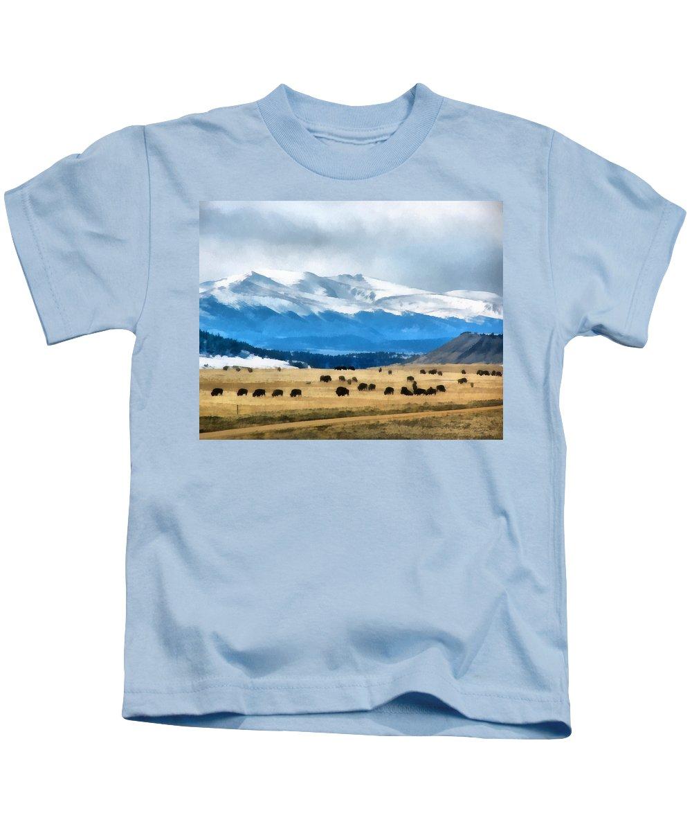 Animals Kids T-Shirt featuring the digital art Buffalo Herd Painterly by Ernie Echols
