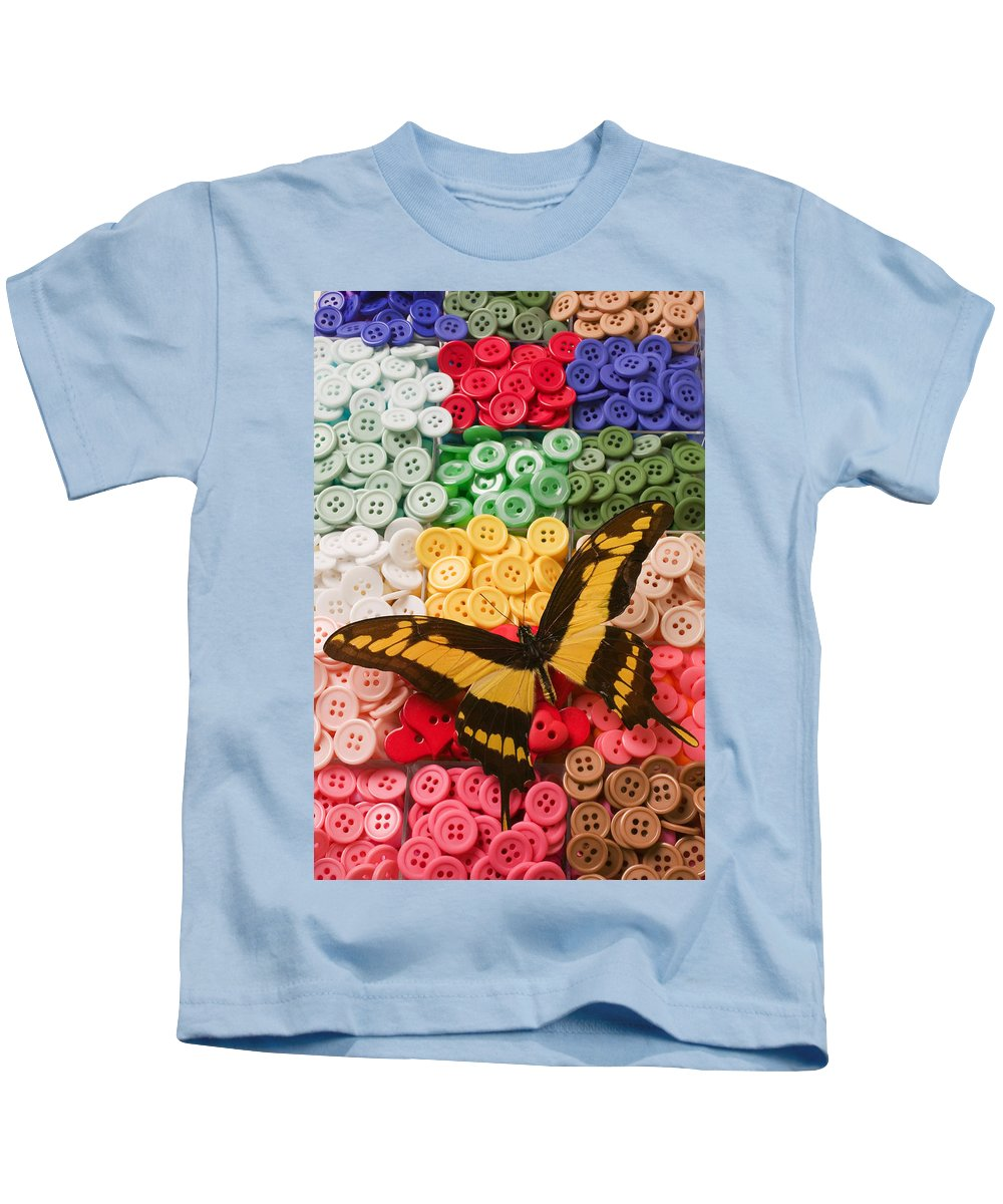 Butterfly Kids T-Shirt featuring the photograph Butterfly And Buttons by Garry Gay