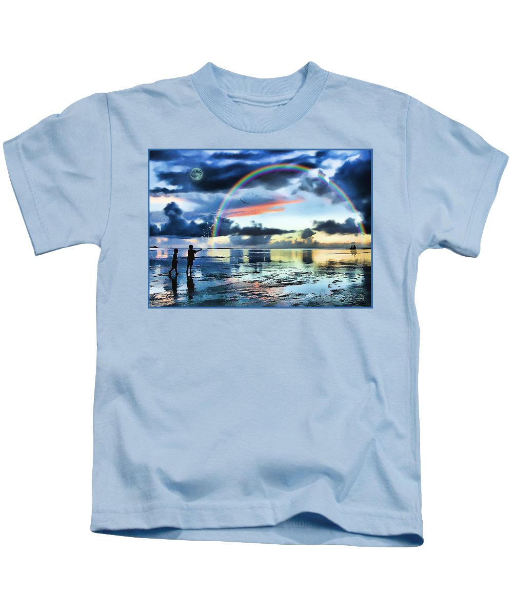 Watercolor Beaches Kids T-Shirt featuring the painting Butterfly Heaven by Tom Schmidt