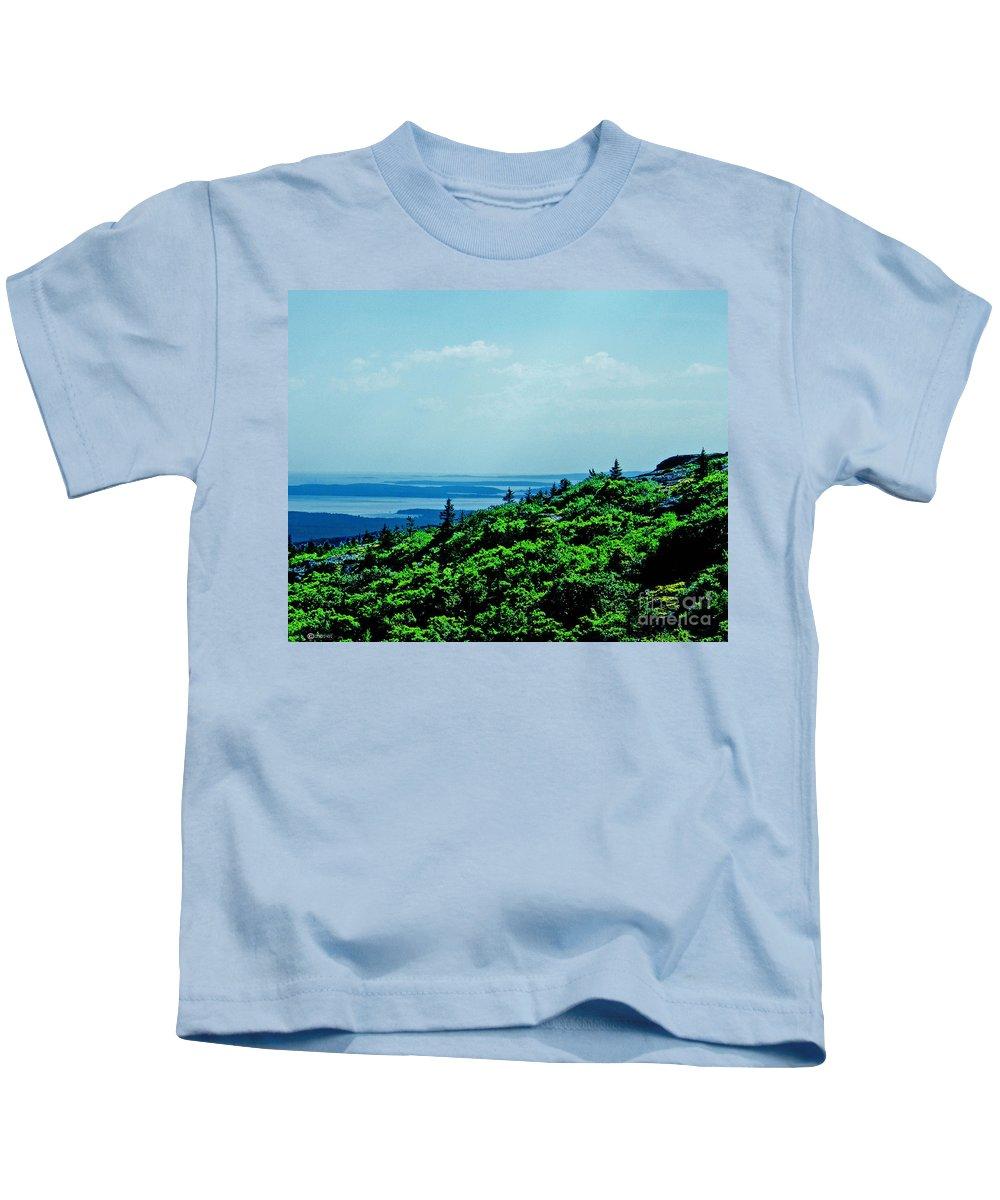 Mountain Kids T-Shirt featuring the digital art Cadillac Mt Mt Desert Island Me by Lizi Beard-Ward
