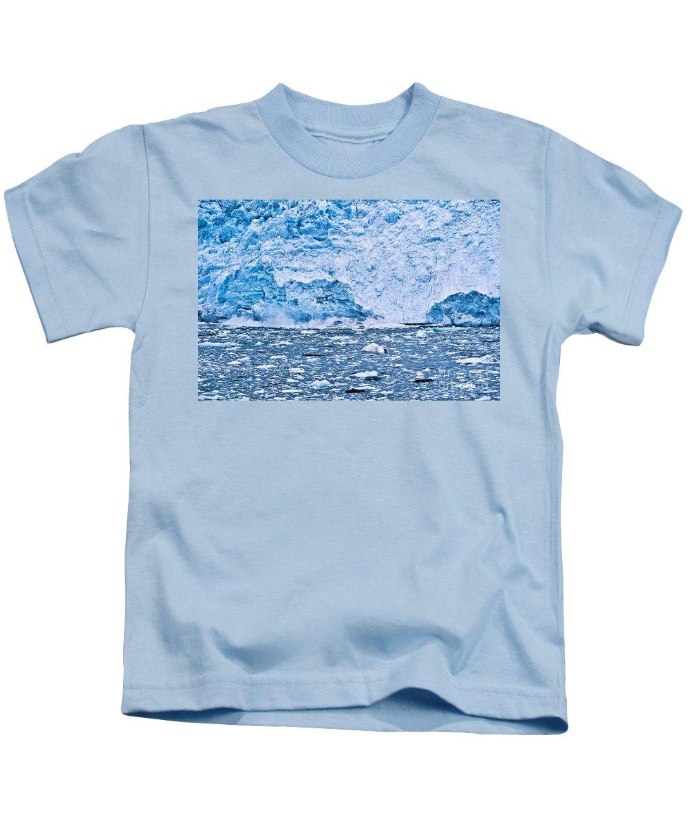 Alaska Kids T-Shirt featuring the photograph Calving Glacier by John Greim
