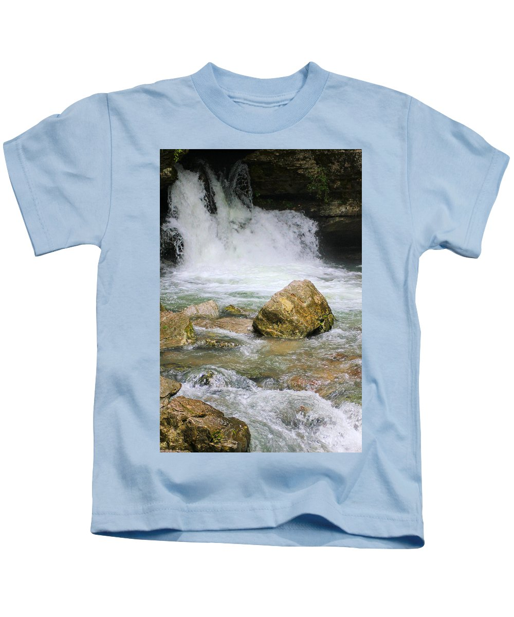 Ozarks Kids T-Shirt featuring the photograph Cave Water Fall by Karen Wagner