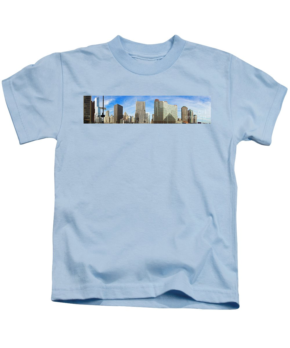 Chicago Panorama Kids T-Shirt featuring the photograph Chicago Panorama 1 by Mary Machare