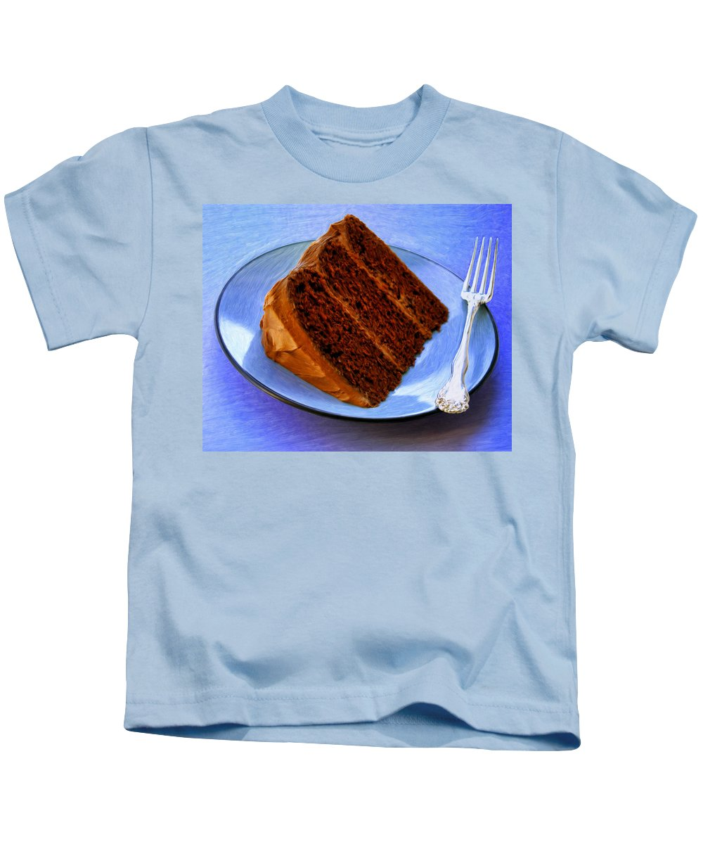 Chocolate Cake Kids T-Shirt featuring the painting Chocolate Cake by Dominic Piperata
