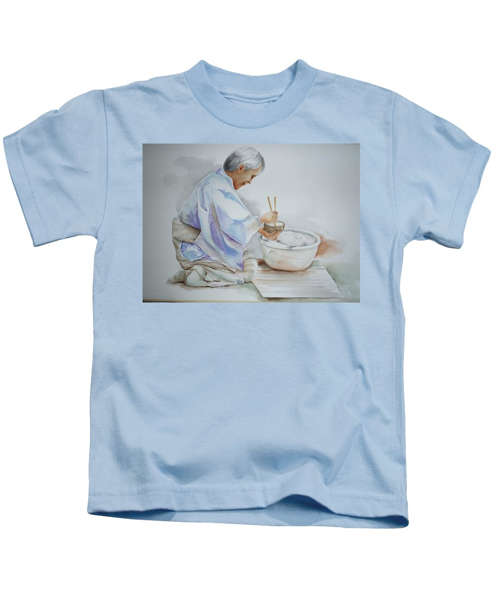 Rice Bowl Kids T-Shirt featuring the painting Chopsticks Iv - Rice Bowl by Elizabeth York