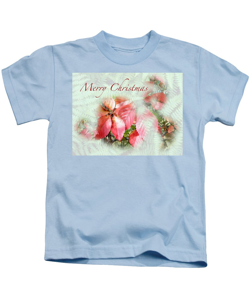 Christmas Kids T-Shirt featuring the photograph Christmas Card - Virginia Creeper In Autumn Colors by Mother Nature