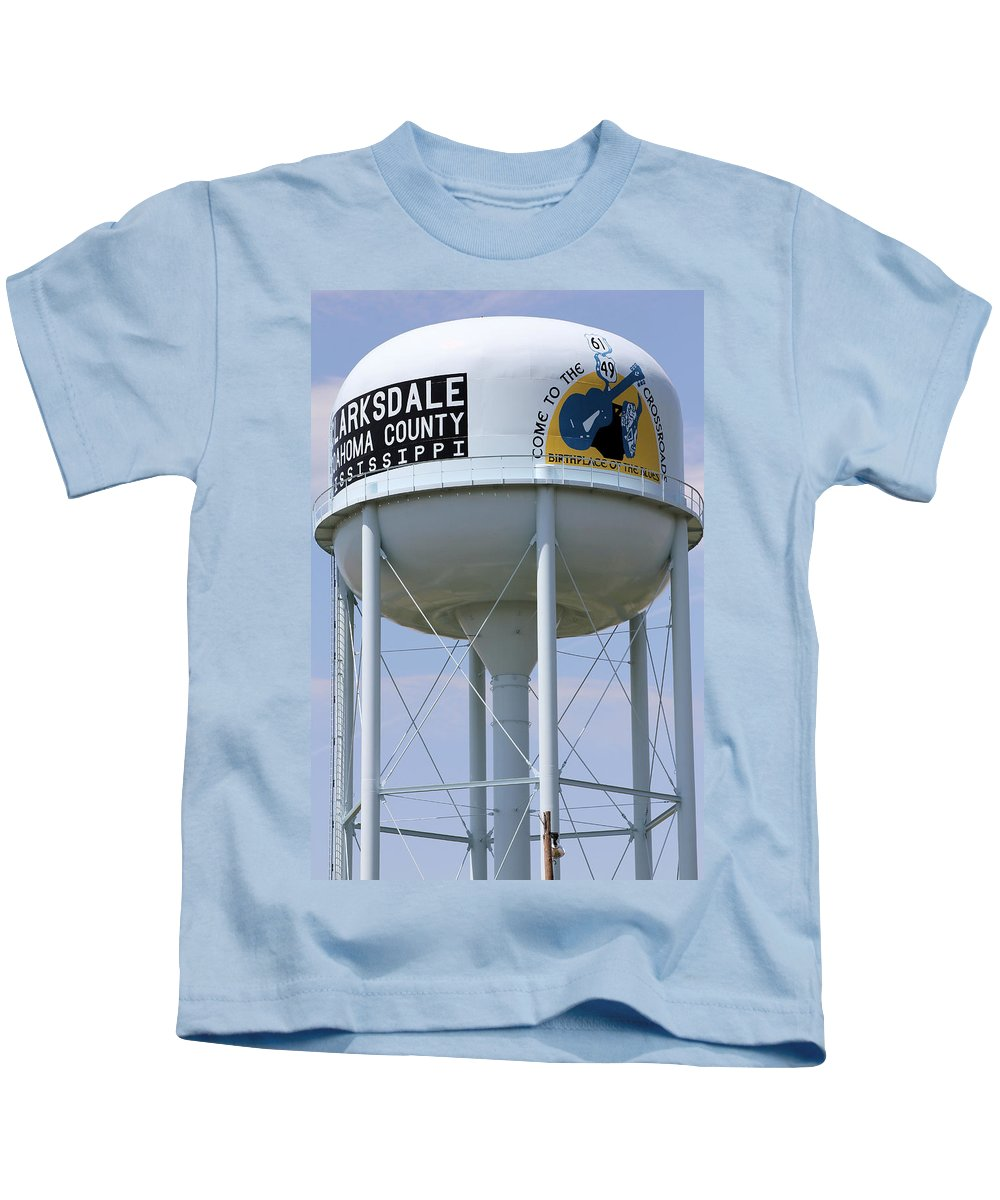 Crossroads Kids T-Shirt featuring the photograph Clarksdale Water Tower by Karen Wagner