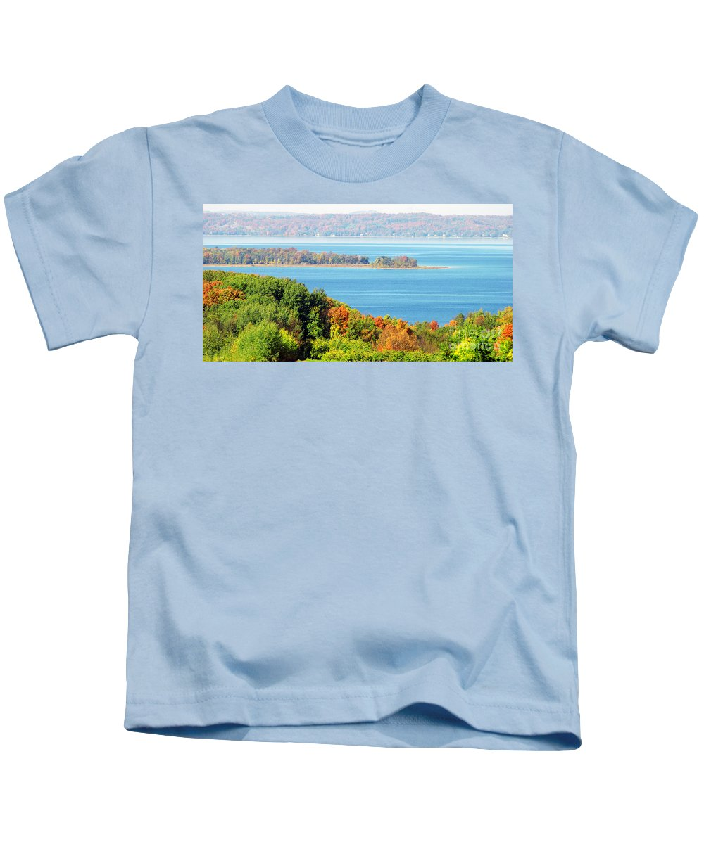 Autumn Colors Kids T-Shirt featuring the photograph Colored Peninsula by Optical Playground By MP Ray
