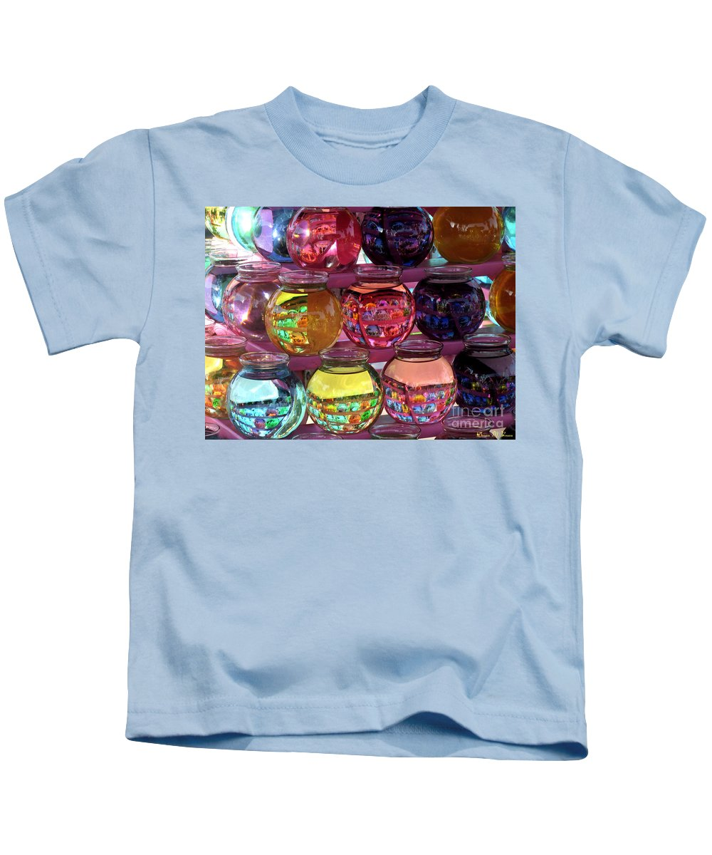 Bowls Kids T-Shirt featuring the photograph Colorful Fish Bowls by Donna Brown
