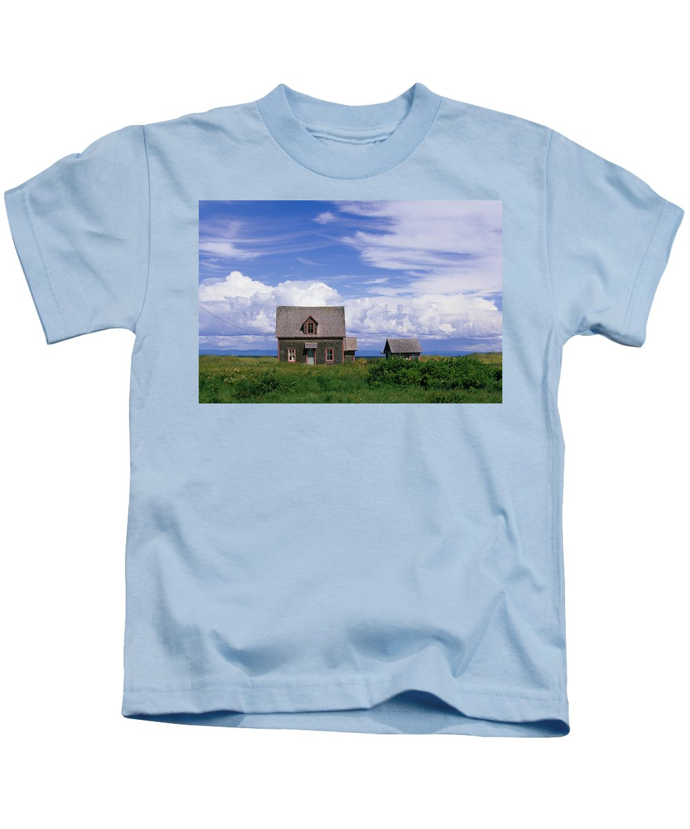 Cloud Kids T-Shirt featuring the photograph Cottage At Bay Of Chaleur by John Sylvester