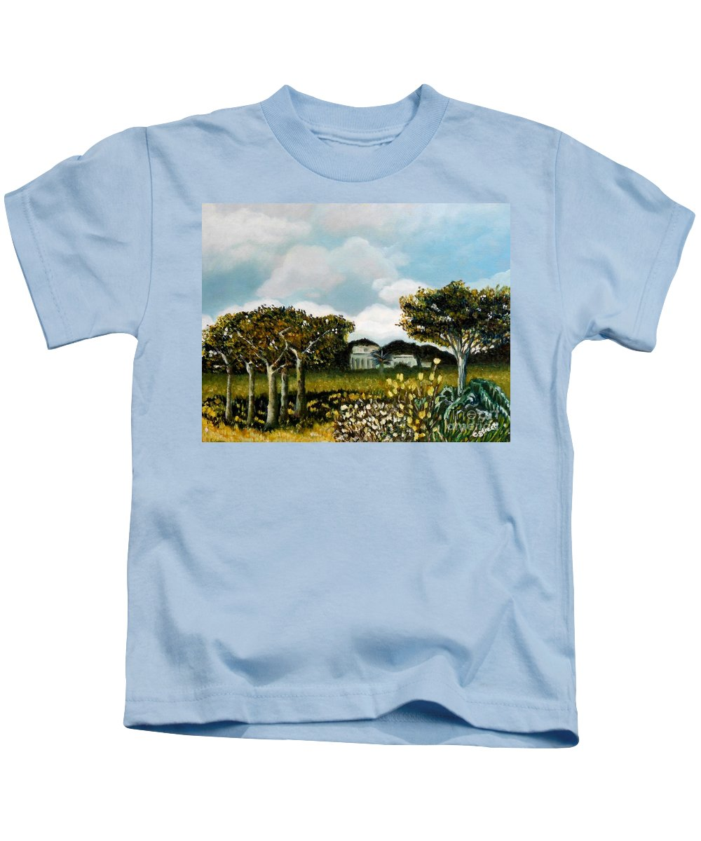Landscape Kids T-Shirt featuring the painting Country Garden by Caroline Street