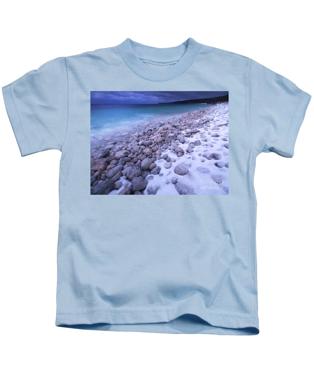 Georgian Bay Kids T-Shirt featuring the photograph Covered With Snow Pebbled Shore Of Georgian Bay by Oleksiy Maksymenko
