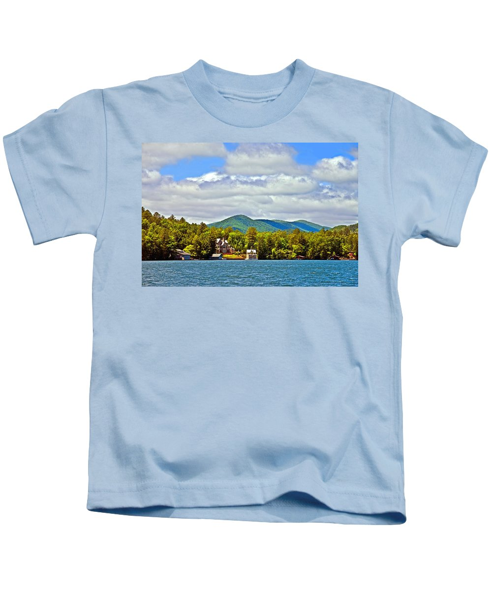 Lake Kids T-Shirt featuring the photograph Distant Lake View In Spring by Susan Leggett