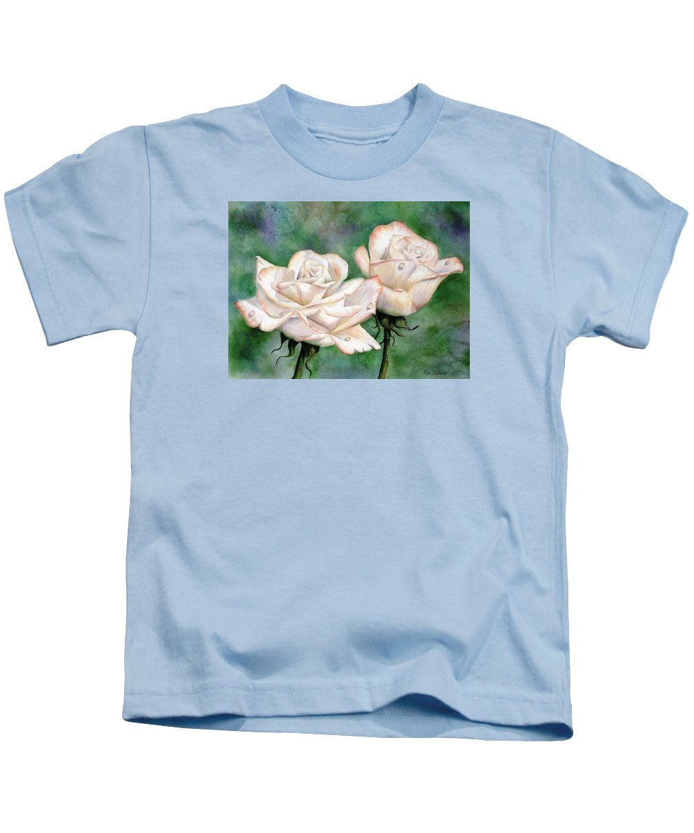 Flowers Kids T-Shirt featuring the painting Double Roses by Lyn DeLano