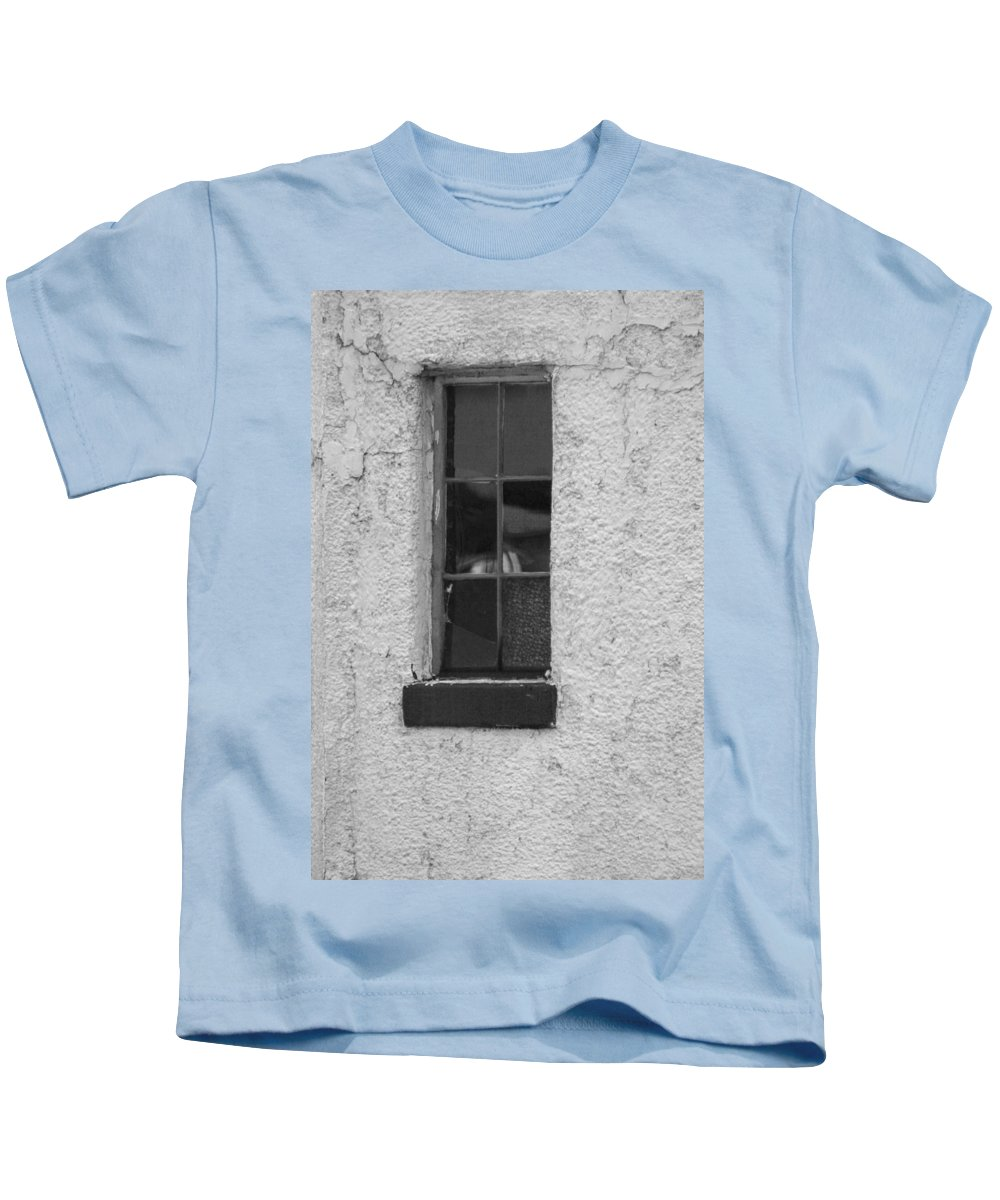 Window Kids T-Shirt featuring the photograph Drab In Black And White by Kathy Clark