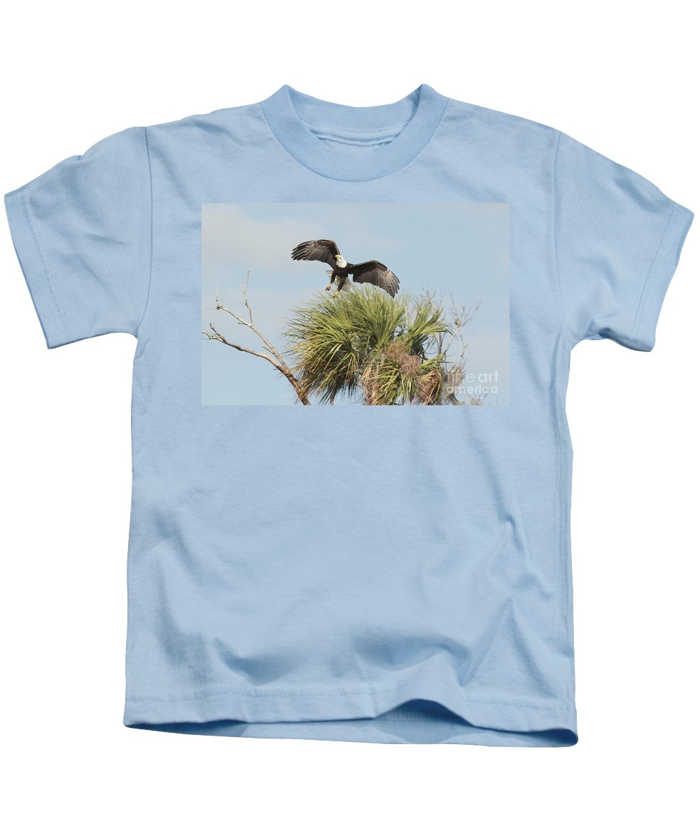 Eagle Kids T-Shirt featuring the photograph Eagle In The Palm by Deborah Benoit