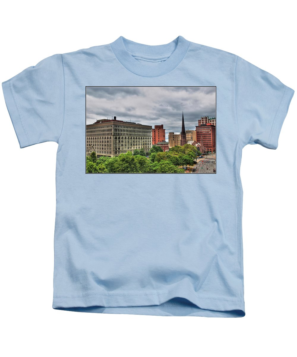 Kids T-Shirt featuring the photograph Ellicott Square Building   St. Joseph Cathedral   Prudential Guaranty Building by Michael Frank Jr