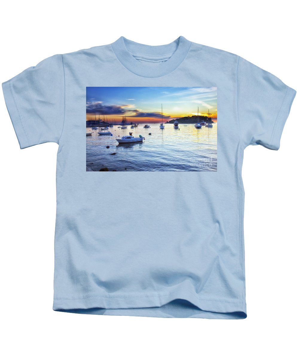 Boats Kids T-Shirt featuring the photograph End Of Day by Madeline Ellis
