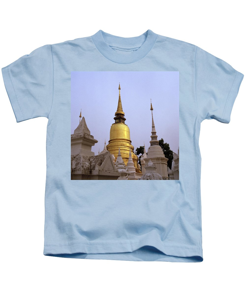 Gold Kids T-Shirt featuring the photograph Ethereal Chedi by Shaun Higson