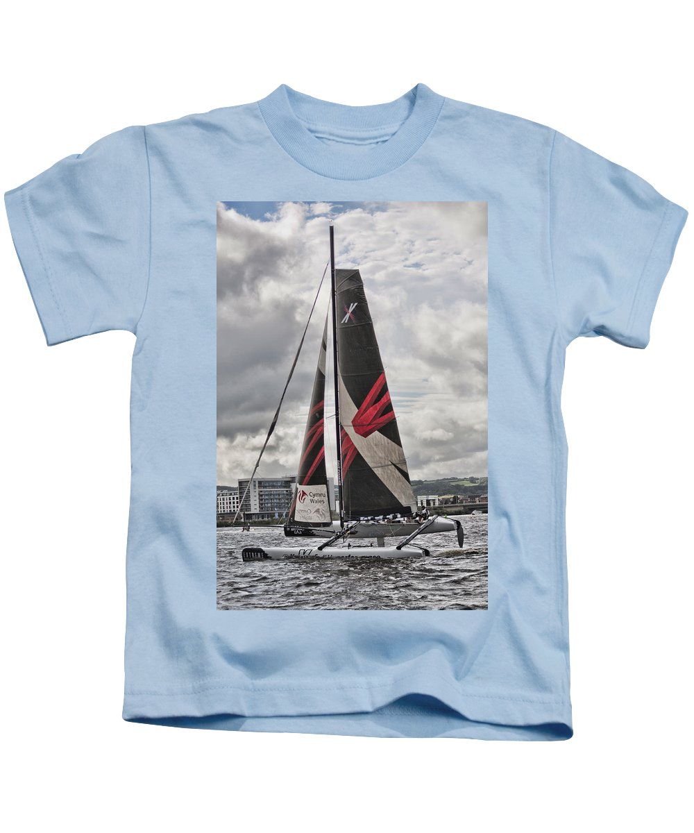 Extreme 40 Catamarans Kids T-Shirt featuring the photograph Extreme 40 Team Wales by Steve Purnell