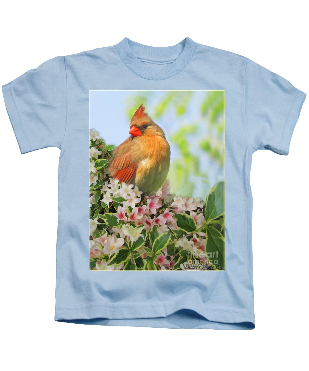 Nature Kids T-Shirt featuring the photograph Female Cardnial In Wegia Digital Art by Debbie Portwood