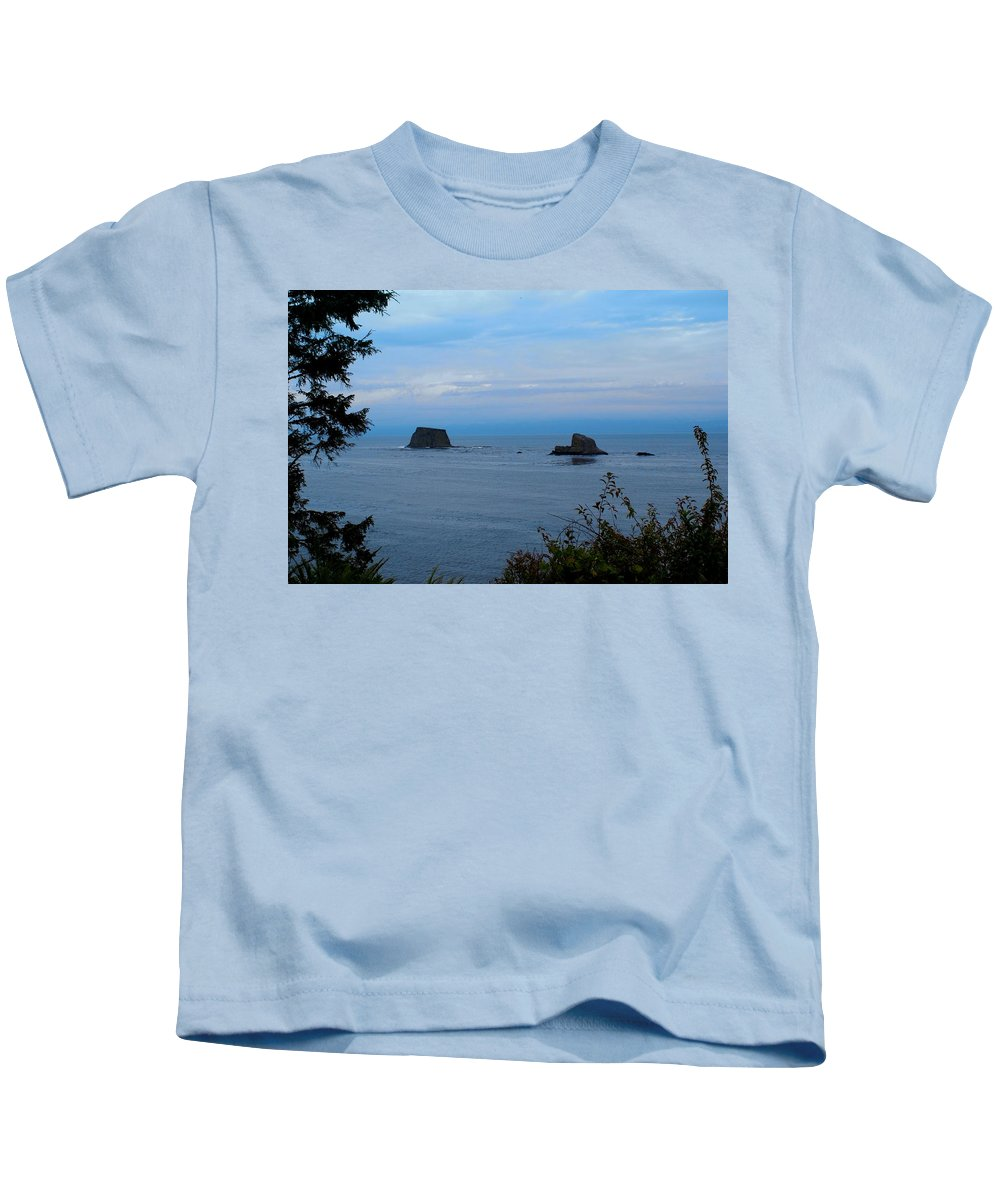 Beautiful Cape Flattery Kids T-Shirt featuring the digital art Floating Rocks by Christy Leigh