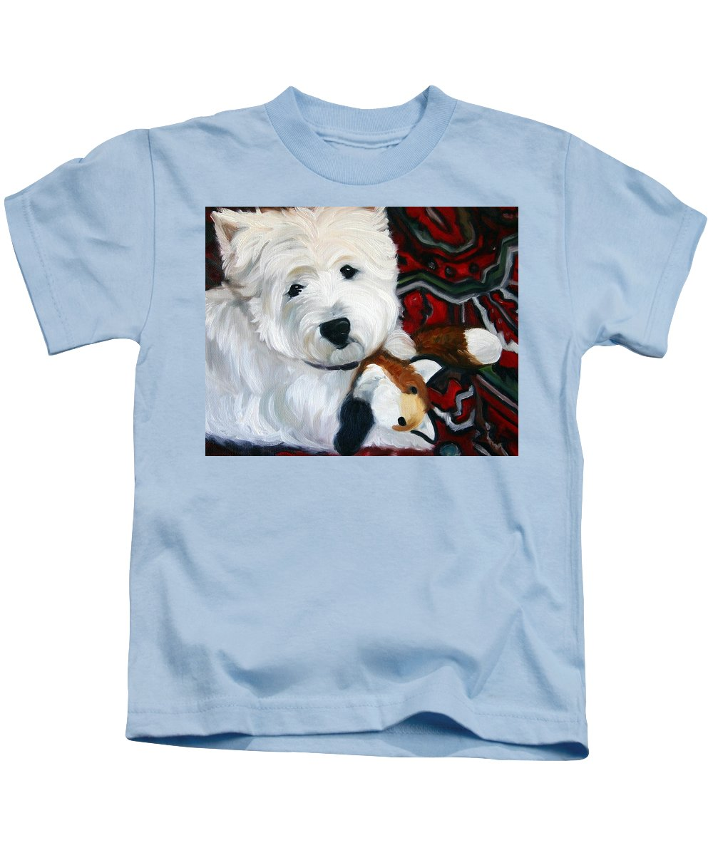 Art Kids T-Shirt featuring the painting Foxy Lady by Mary Sparrow