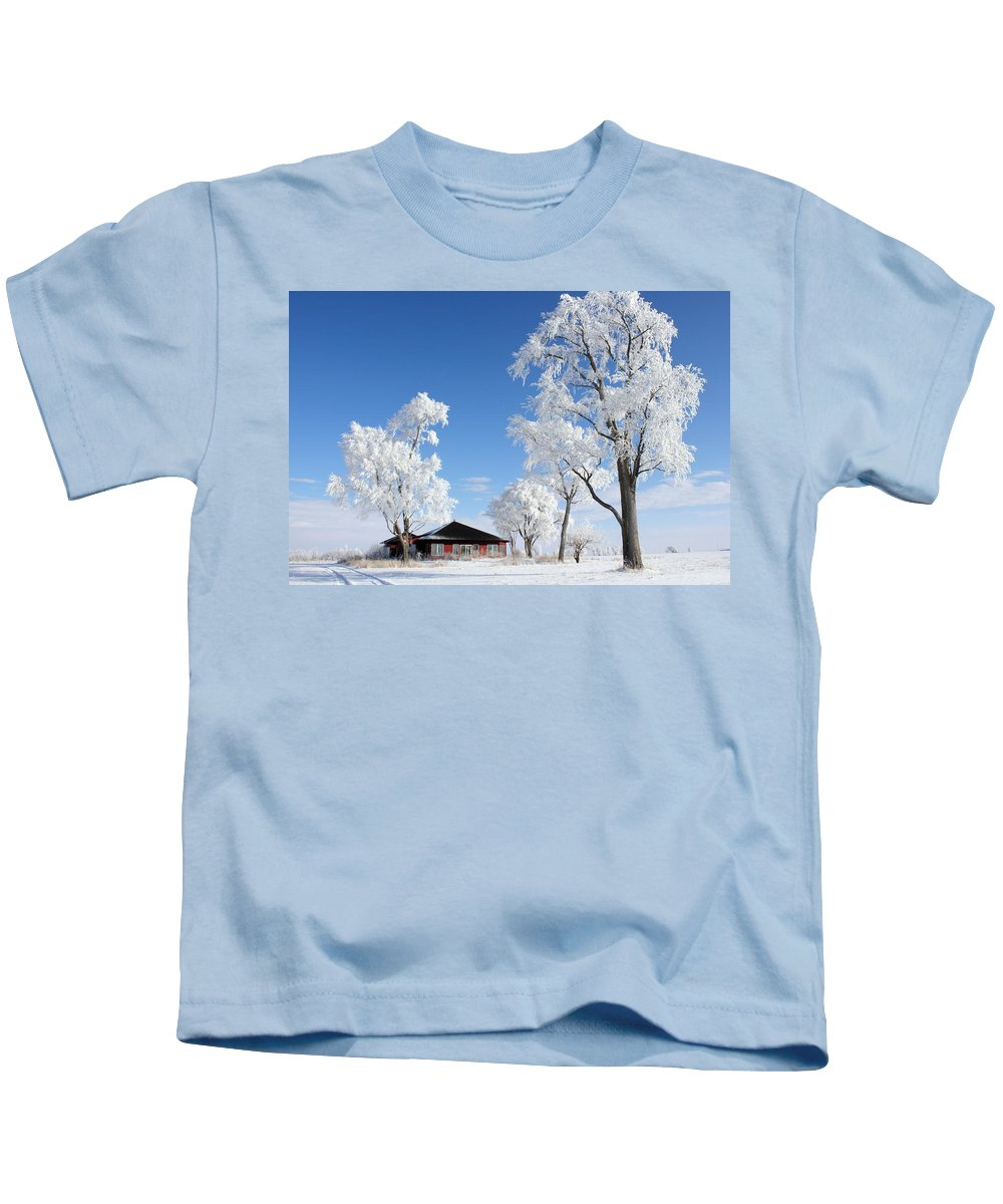 Landscape Kids T-Shirt featuring the photograph Fresh Frost by Bryan Noll
