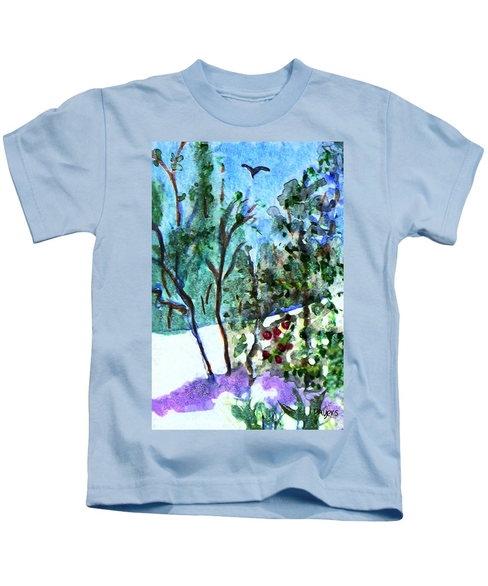 Watercolor Kids T-Shirt featuring the painting Frosty Morning by Paula Ayers