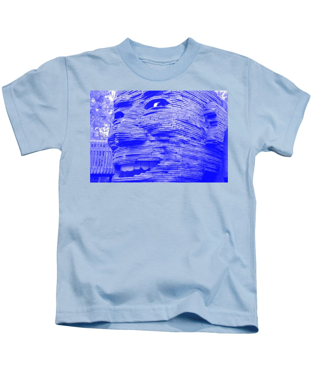 Architecture Kids T-Shirt featuring the photograph Gentle Giant In Negative Blue by Rob Hans