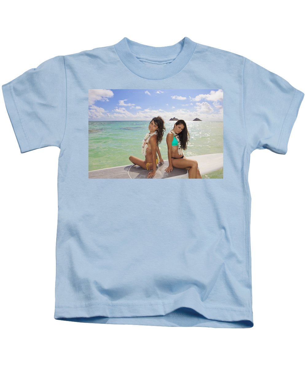 Active Kids T-Shirt featuring the photograph Girls On A Paddle Board by Tomas del Amo - Printscapes