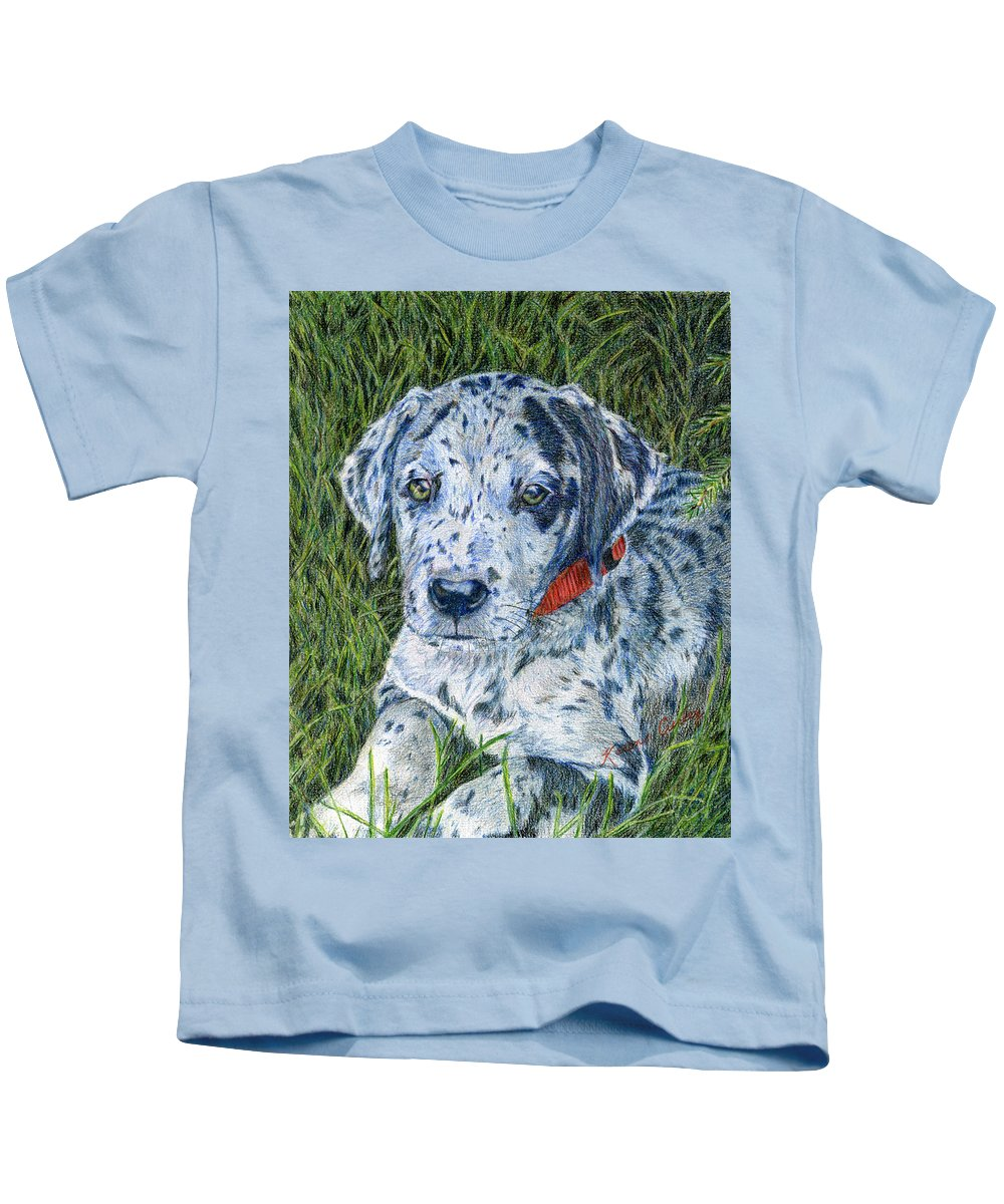Great Dane Puppy Kids T-Shirt featuring the painting Great Dane Merle by Karen Curley