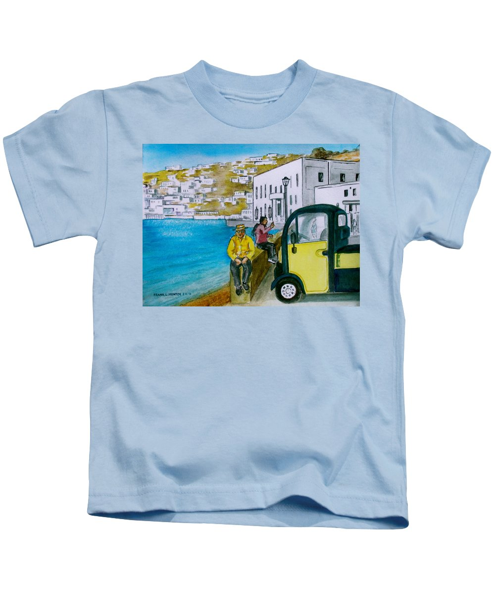 Greek Island Mykonis Truck Yellow White Buildings Water Kids T-Shirt featuring the painting Greek Island Of Mykonis by Frank Hunter