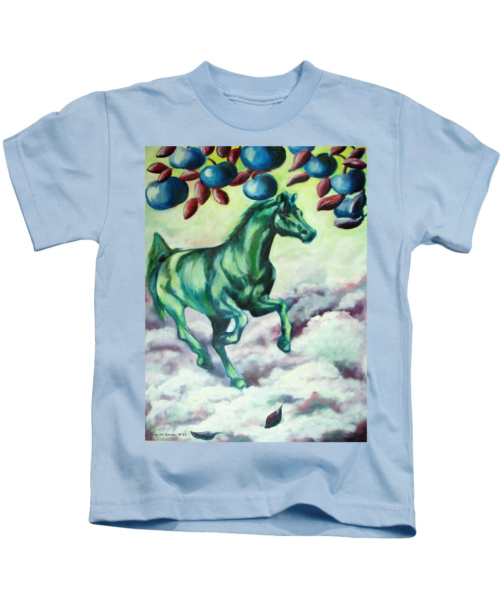 Horse Kids T-Shirt featuring the painting Green Horse by Gina De Gorna