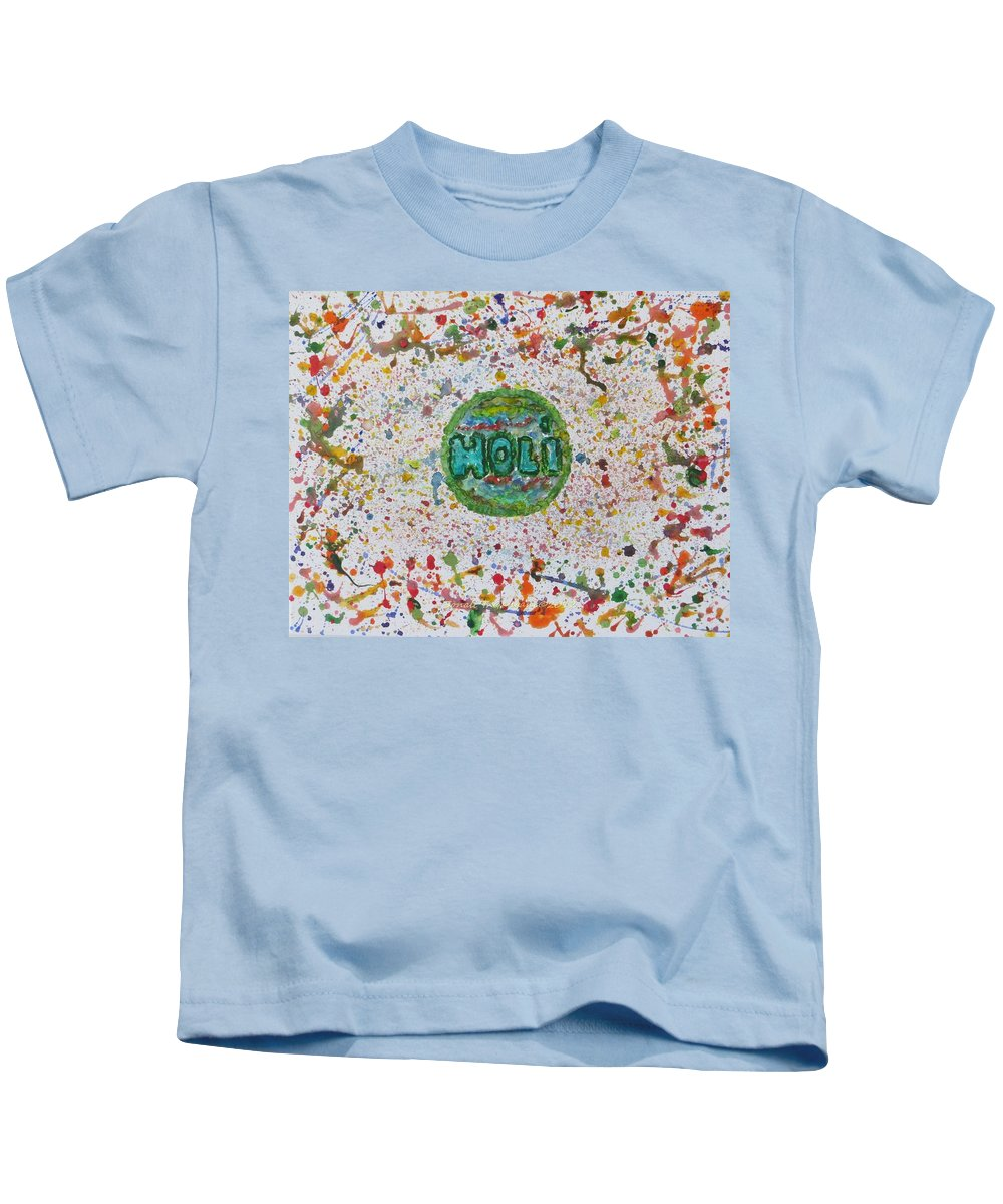 Festival Of Colours Kids T-Shirt featuring the painting Holi by Sonali Gangane